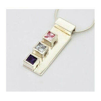 Silver Pendant with 3 Square Stones (16