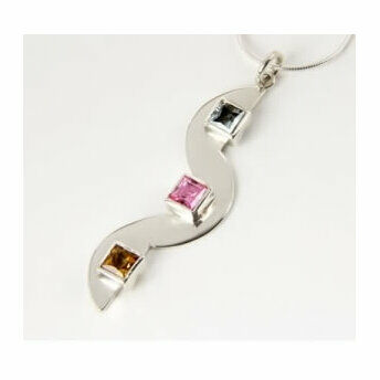 Silver Squiggle Pendant with 3 Square Stones (16
