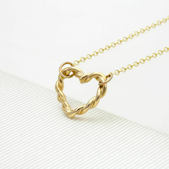 Twisted Heart Necklace in Gold