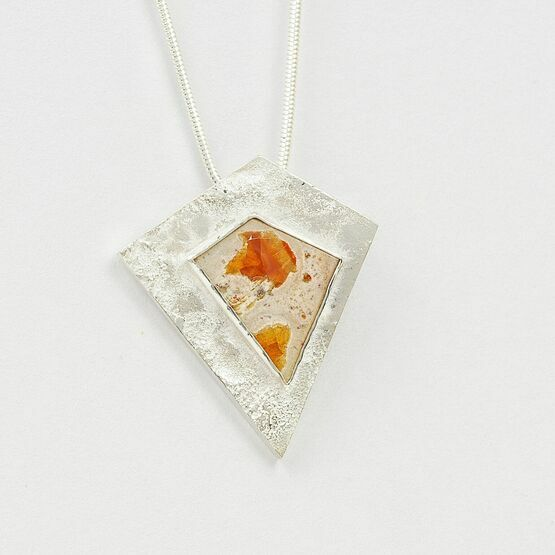 Silver Kite pendant with Fire Opal