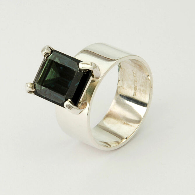 Large Gemstone Silver Ring
