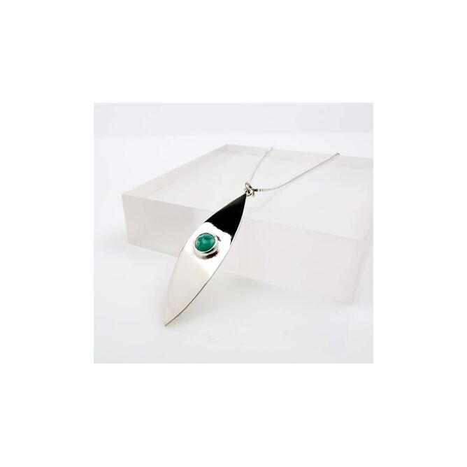 Curved Surfboard Pendant with Stone