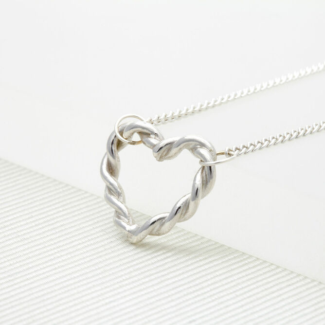 Silver Twisted Heart Necklace