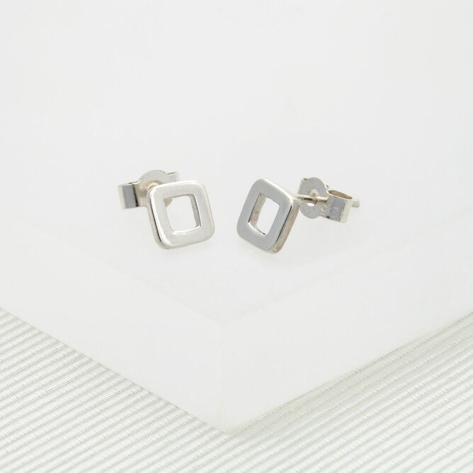 Geometric Silver Square Stud Earrings