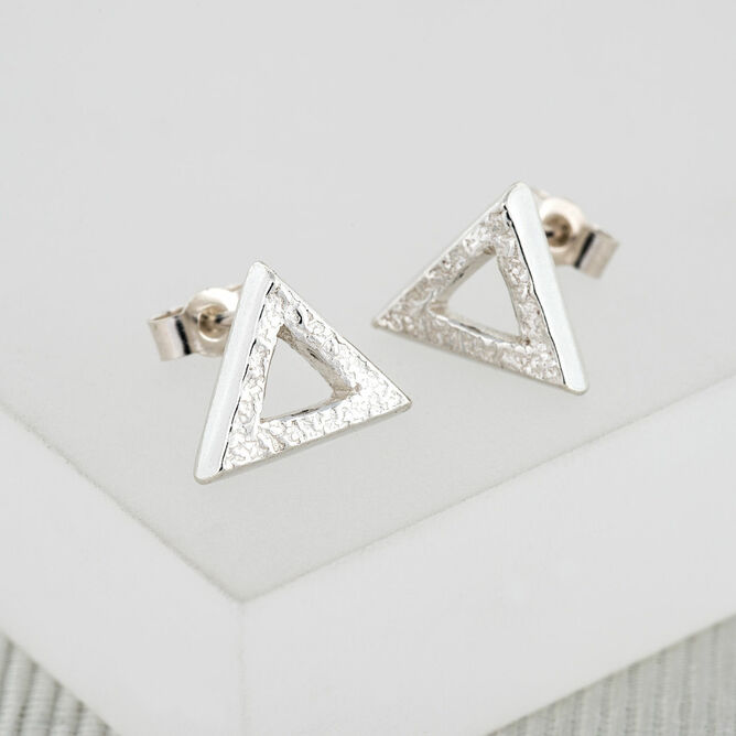 Textured Silver Triangle Studs (Large)