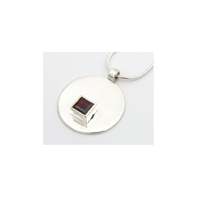 Silver Pendant with Square Stone