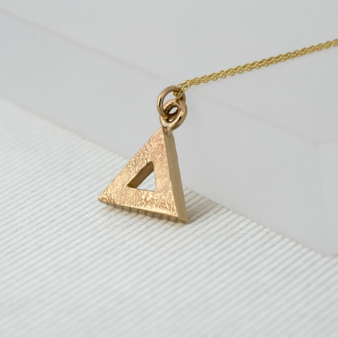Large Yellow Gold Geometric Triangle Pendant