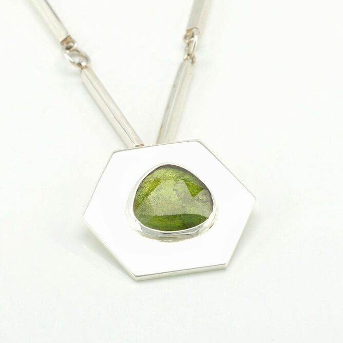 Hexagon Necklace with Green Tourmaline