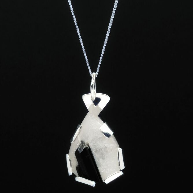 Silver pendant with tourmalinated quartz