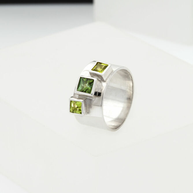 Silver Ring with Green Stones