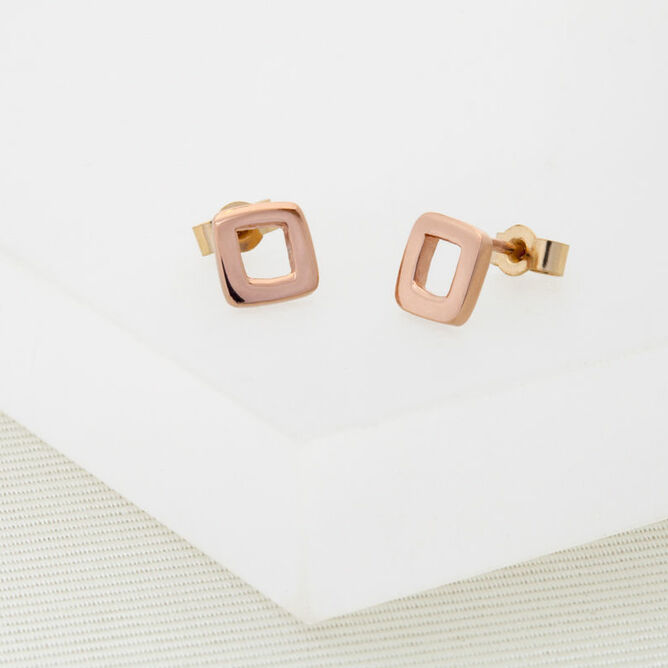 Geometric Rose Gold Stud Earrings
