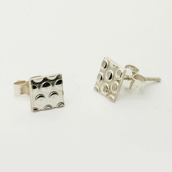 Silver Dotty Square Stud Earrings