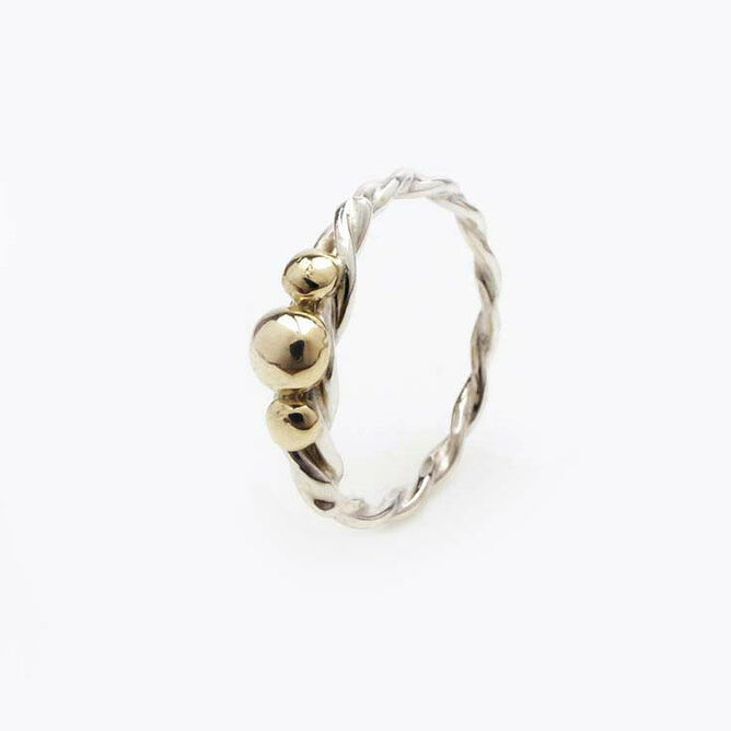 Silver Twisted Ring with Gold Balls