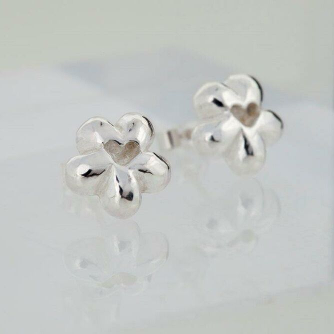 Silver Flower & Heart Stud Earrings