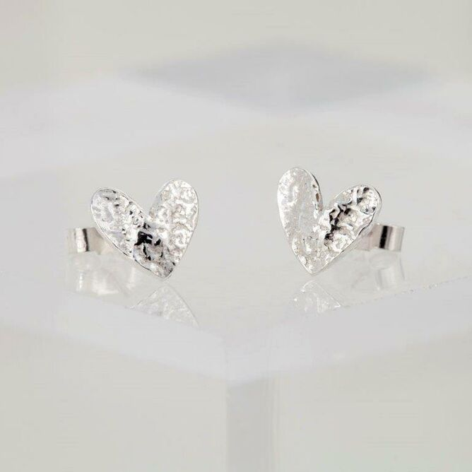 Large Silver Textured Heart Earrings