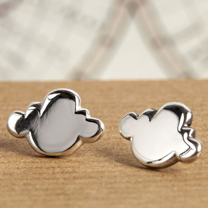 Silver Cloud Stud Earrings